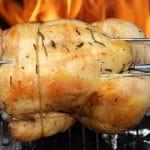 barbecue à charbon avec rôtissoire poulet